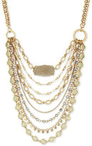 Lucky Brand Gold-Tone Multi-Stone Multi-Layer Statement Necklace