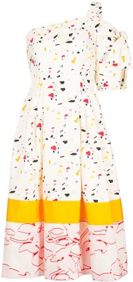 Carolina Herrera Splash Print Cocktail Dress