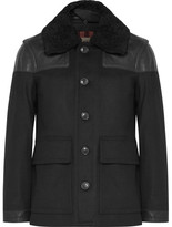 Burberry Leather-trimmed Virgin Wool-blend Coat - Black
