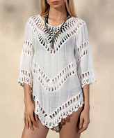 Chateau Amour Women's Tunics White - White Chevron Macrame Cover-Up Top - Women