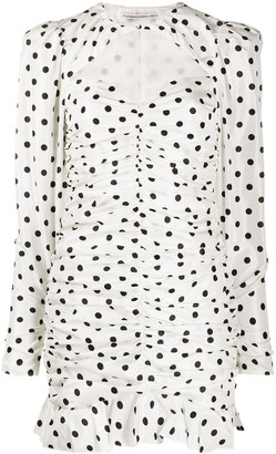 Alessandra Rich Ruched Polka Dot Mini Dress