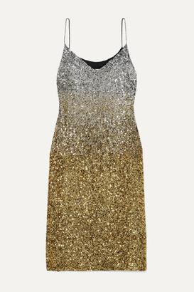 Dries Van Noten Daria Dégradé Sequined Silk-crepe Midi Dress - Gold