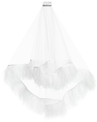 Christopher Kane Ostrich Feather-trimmed Short Tulle Veil - White