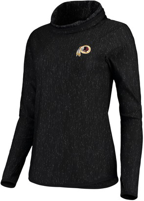 Antigua Women's Heathered Black Washington Redskins Equalizer Cowl Neck Pullover Sweatshirt