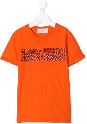Alberta Ferretti Kids fringed logo T-shirt