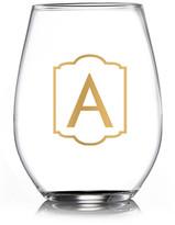 """Jay Import Monogram Gold """"A"""" Stemless Goblets - Set of 4"""