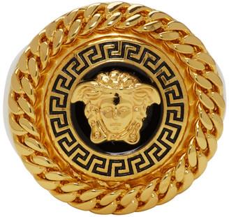 Versace Gold and Black Enamel Medusa Ring