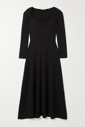 Vince Ruched Textured Crepe Midi Dress - Black