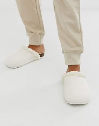 Women'secret fluffy borg hard sole slippers in pink