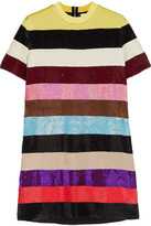 Ashish Striped Sequined Silk-georgette Mini Dress