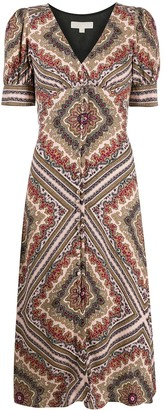 MICHAEL Michael Kors Geometric-Print Midi Dress