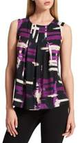 Donna Karan Sleeveless Pleated Front Printed Tank Top