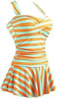MiYang Women's One Piece Striped Slim Swim Dress Bathing Swimwear