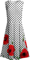 Lily Women's Casual Dresses WHT - White & Red Floral & Polka Dot Pleated Fit & Flare Dress - Women & Plus