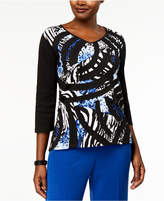 Alfred Dunner High Roller Printed Patchwork Top