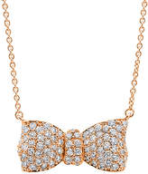 Crislu Bow Tie Collection 18K Rose Gold Over Silver Cz Necklace