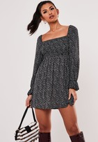 Missguided Black Ditsy Petal Print Shirred Skater Dress