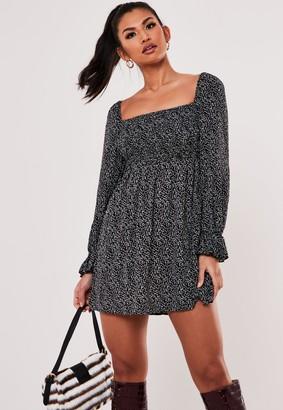 Missguided Black Ditsy Petal Print Shirred Skater Dress