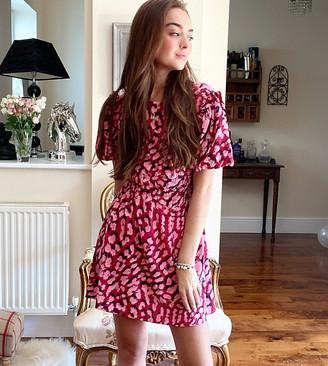 Topshop Petite puff sleeve mini dress in pink