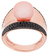 Honora Cultured Pearl 10.0mm Black Spinel Concave Bronze Ring