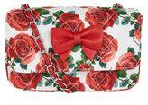 MonnaLisa Quilted Rose Print Shoulder Bag