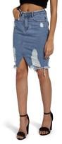 Missguided Women's Distressed Denim Skirt
