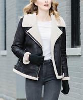 Donna Salyers' Fabulous Faux Furs Donna Salyers' Fabulous-Faux Furs Women's Car Coats Black - Black Faux Fur-Trim Urbanista Moto Jacket - Women