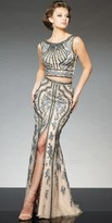 Tony Bowls Le Gala Two Piece Beaded Mesh Evening Gown