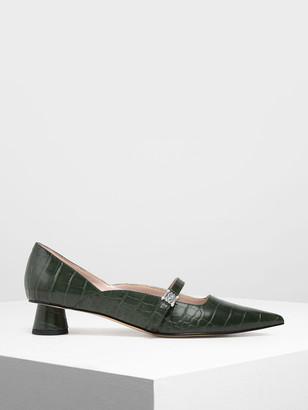 Charles & Keith Gem Embellished Cylindrical Heel Mary Jane Pumps