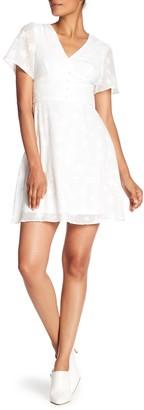 Nicole Miller V-Neck Flutter Sleeve Dress
