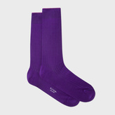 Paul Smith Men's Violet Contrast Cuff Ribbed Socks