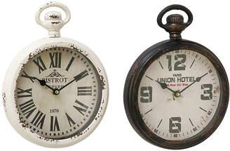 Uma Enterprises Uma Set Of 2 Traditional 11 Inch Distressed Iron Wall Clocks