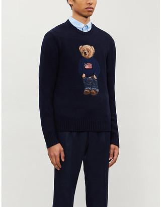 Ralph Lauren Purple Label Bear-intarsia cashmere jumper
