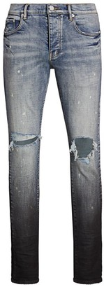 Purple Brand Distressed Gradient Skinny Jeans