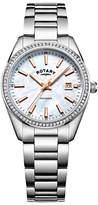 Rotary LB05079/41 Women's Havana Date Bracelet Strap Watch, Silver/Mother of Pearl