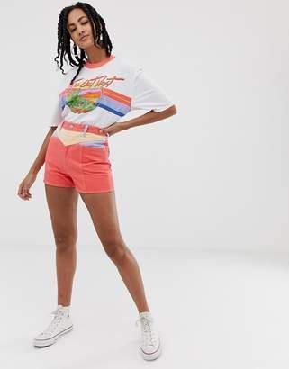 Wrangler retro seams denim shorts-Orange
