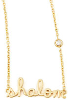 SHY by Sydney Evan Jewelry Shalom Necklace with Diamond, Golden