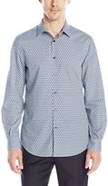 Perry Ellis Men's Non Iron Travel Luxe Diagonal Print Shirt