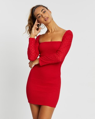 Missguided Broderie Shirred Mini Dress