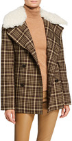 ADAM by Adam Lippes Double-Face Plaid Wool Pea Coat with Shearling Collar