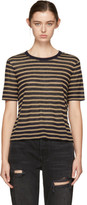 Alexander Wang Navy & Tan Striped T-Shirt