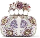 Alexander McQueen Knuckle Embellished Satin Clutch - Ivory