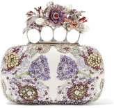 Alexander McQueen Knuckle Embellished Satin Clutch - one size