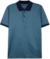Pal Zileri Blue Cotton Jacquard Polo Shirt
