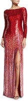 Jenny Packham Long-Sleeve Boat-Neck Ombre Sequined Gown, Tomette