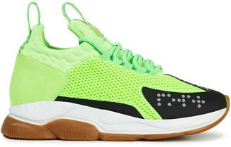 Versace Neon Neoprene, Mesh And Suede Sneakers