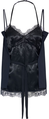MM6 MAISON MARGIELA Lace-trimmed Layered Satin And Crepe Top