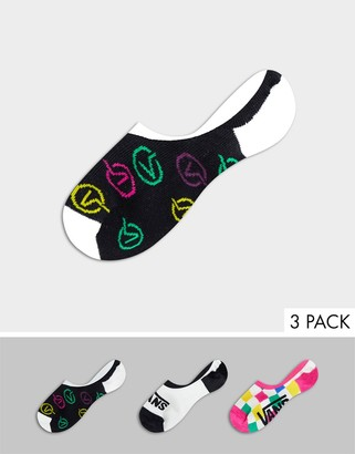 Vans Check Block 3-pack no-show canoodle socks in multi