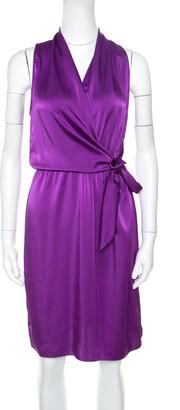 Elie Tahari Purple Satin Front Tie Gathered Waist Sleeveless Halley Dress M