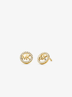 Michael Kors Precious Metal-Plated Sterling Silver Pave Logo Studs